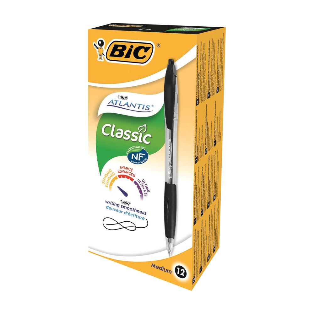 BIC Atlantis ECO Black Retractable Ballpoint  Pen, Pack of 12 - 933976