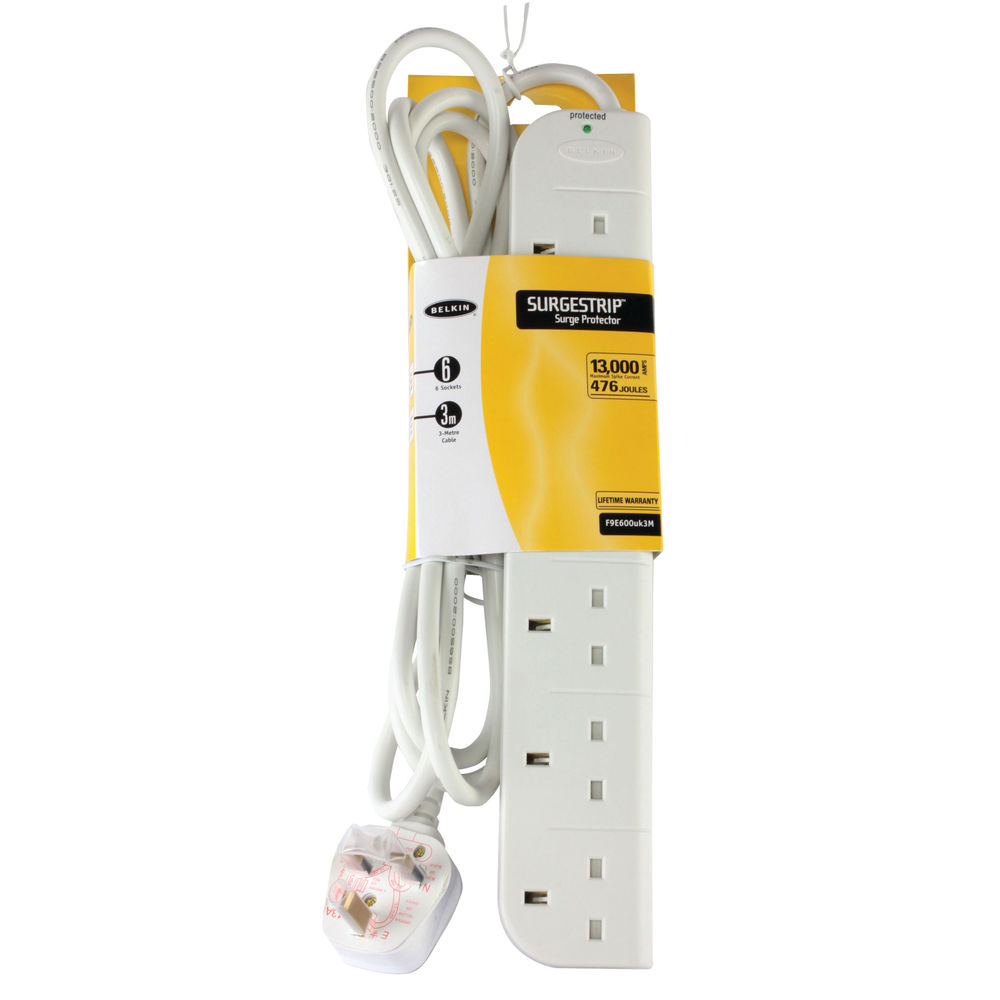 Belkin 3m 6-Socket SurgeStrip Surge Protector Extension Lead - F9E600UK3M