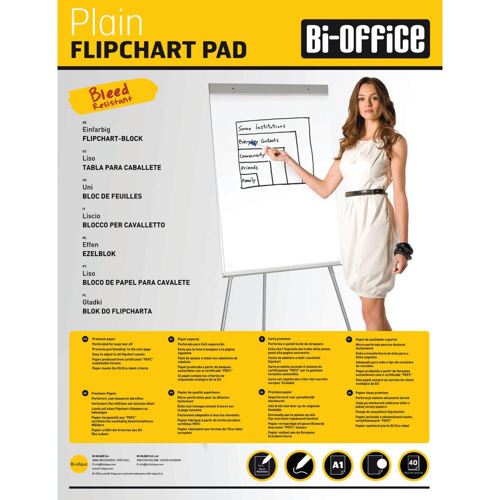 Bi-Office Plain Flipchart Pad A1 40 Sheet (Pack of 5) FL010101