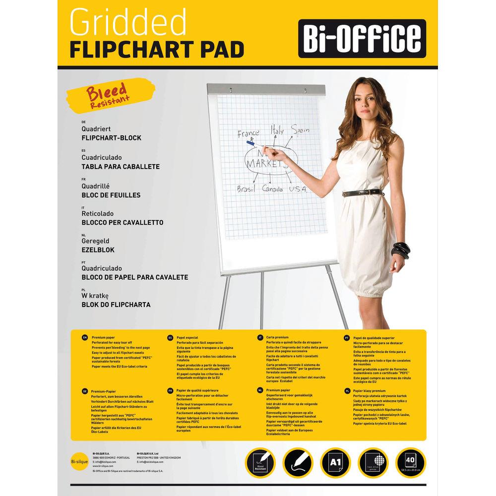 Bi-Office Gridded Flipchart Pad A1 40 Sheet (Pack of 5) FL012301