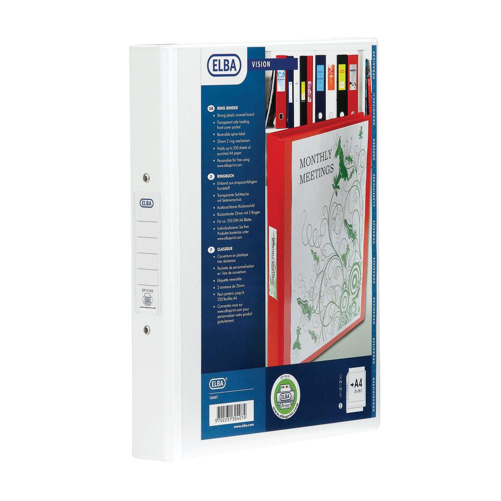 Elba Vision A4 White 2 O-Ring Binder   100080889