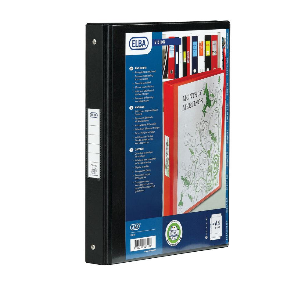 Elba Vision A4 Black 2 O-Ring Binder | 100080891