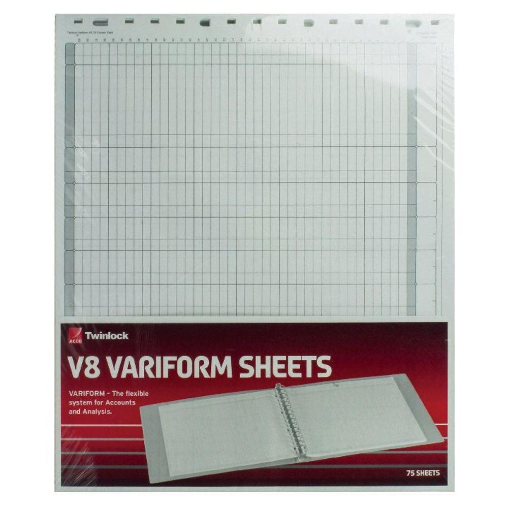 Rexel Twinlock Variform V8 Refills, 10 Cash Columns (Pack of 75) - 75982