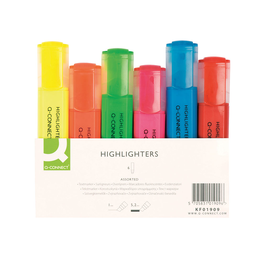 Q-Connect Assorted Highlighter Pens, Pack of 6 - KF01909