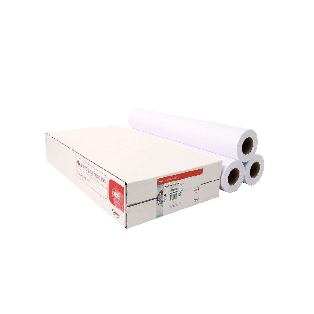 Canon White Uncoated Inkjet Paper Rolls,90gsm, Pack of 3 - 97003452