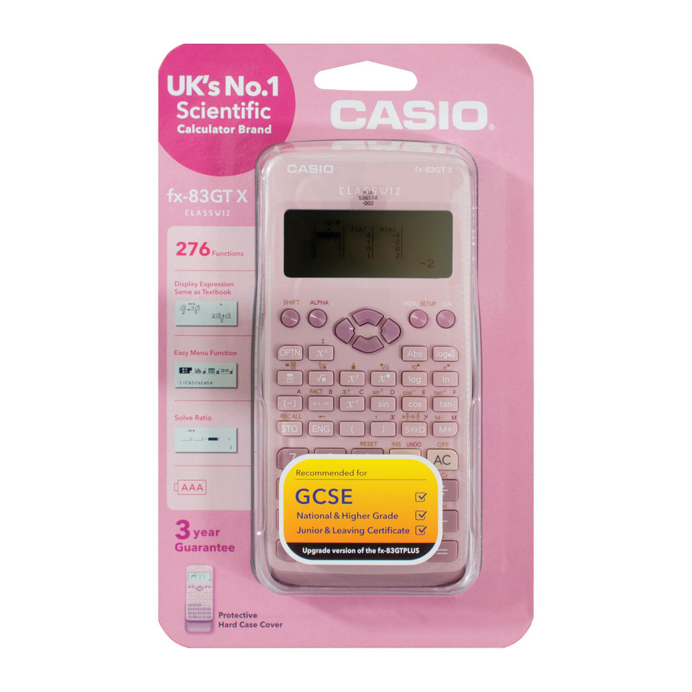 Casio Scientific Calculator, Pink, 260 Functions - FX-85GTX-DP(PINK)