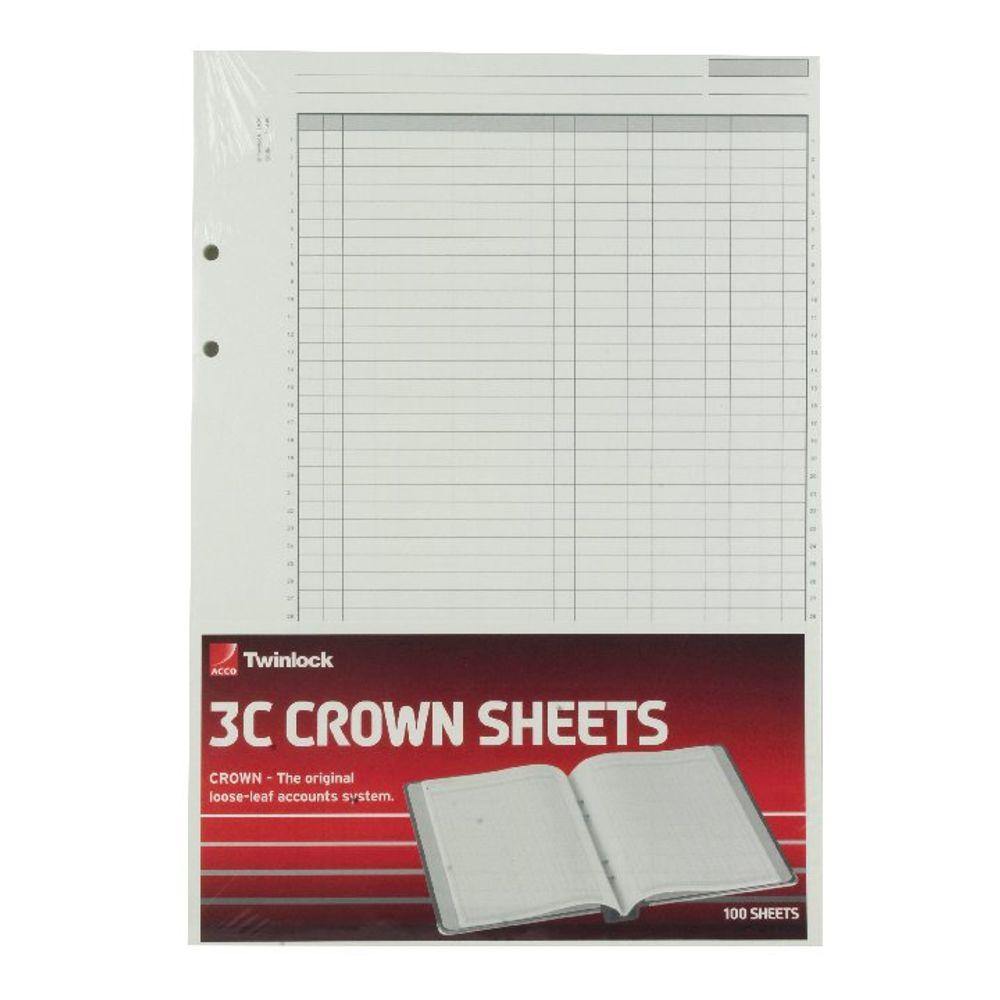 Rexel Twinlock Crown 3C Treble Cash Ledger Sheets (Pack of 100) - 75849
