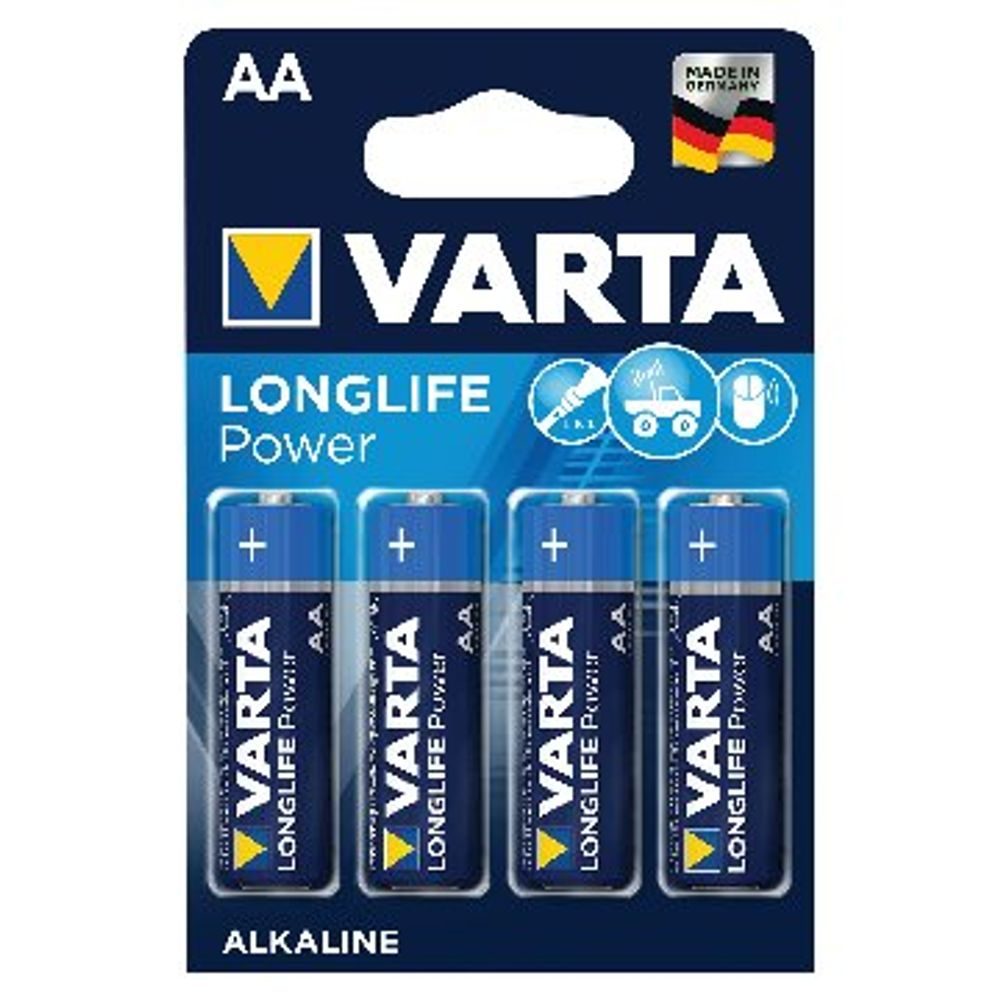 VARTA High Energy Alkaline AA Batteries, Pack of 4 - 4906620414