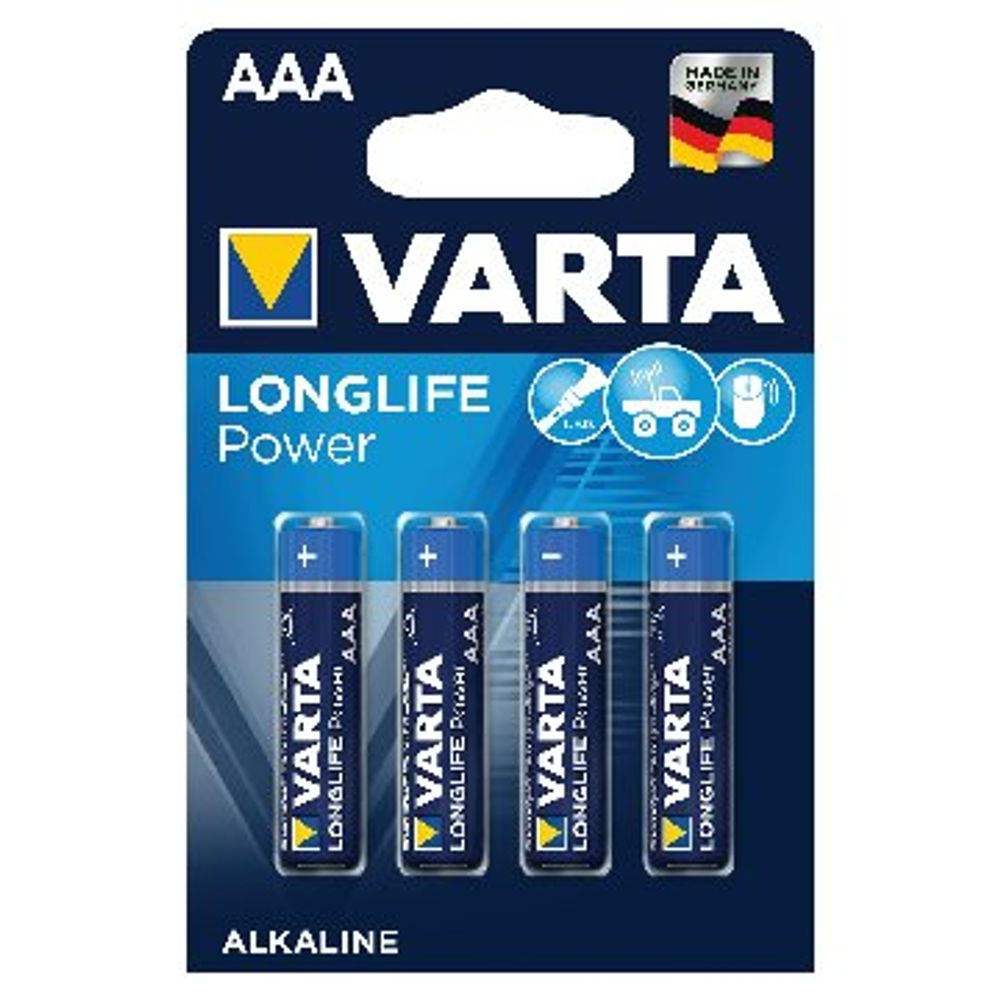 VARTA High Energy Alkaline AAA Batteries, Pack of 4 - 4903620414