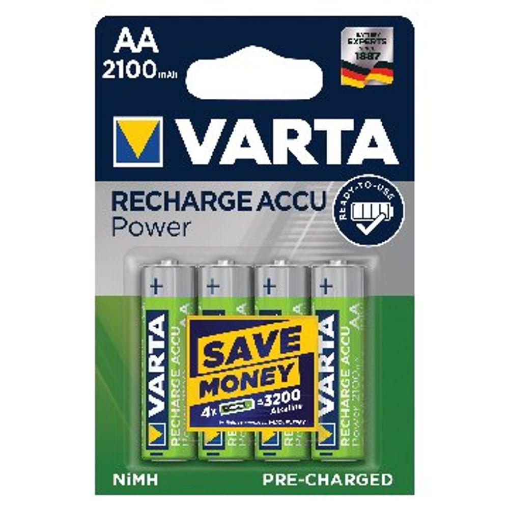 VARTA Rechargeable AA Batteries, Pack of 4 - 56706101404