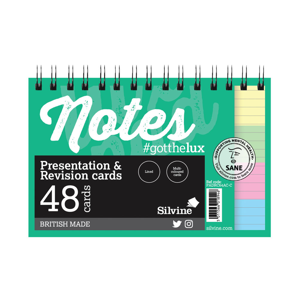 Silvine Revision Presentation/Note Card Twin Assorted (Pack of 10) PADRC64AC-C