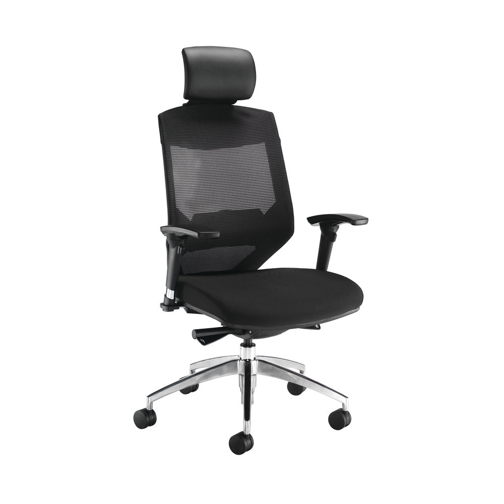 Arista Lotus Mesh High Back Black Office Chair With Headrest