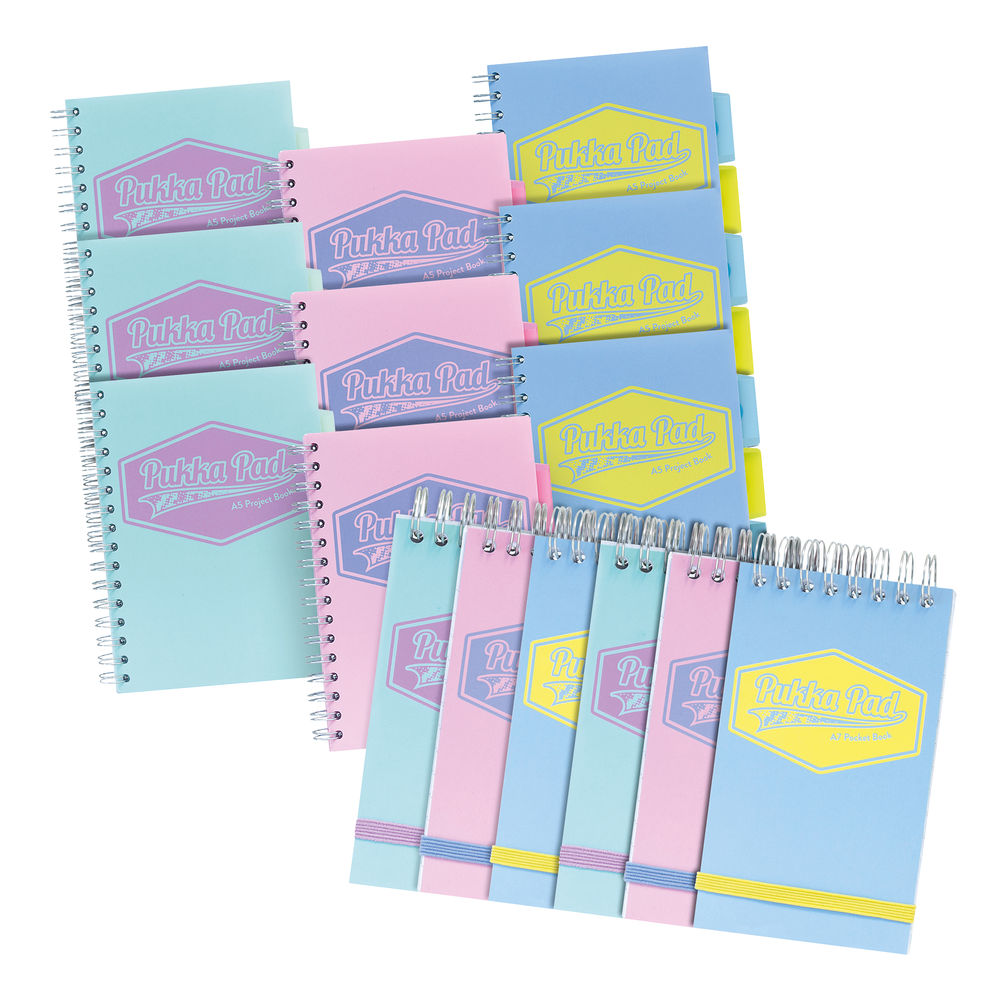 Pukka Pads Project Book (Pack of 9) plus FOC A7 Pocket Books (Pack of 6) PP816975