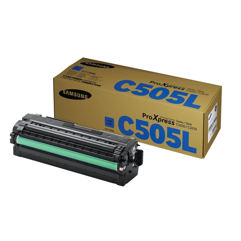 Samsung CLT-C505L High Capacity Cyan Toner Cartridge - SU035A