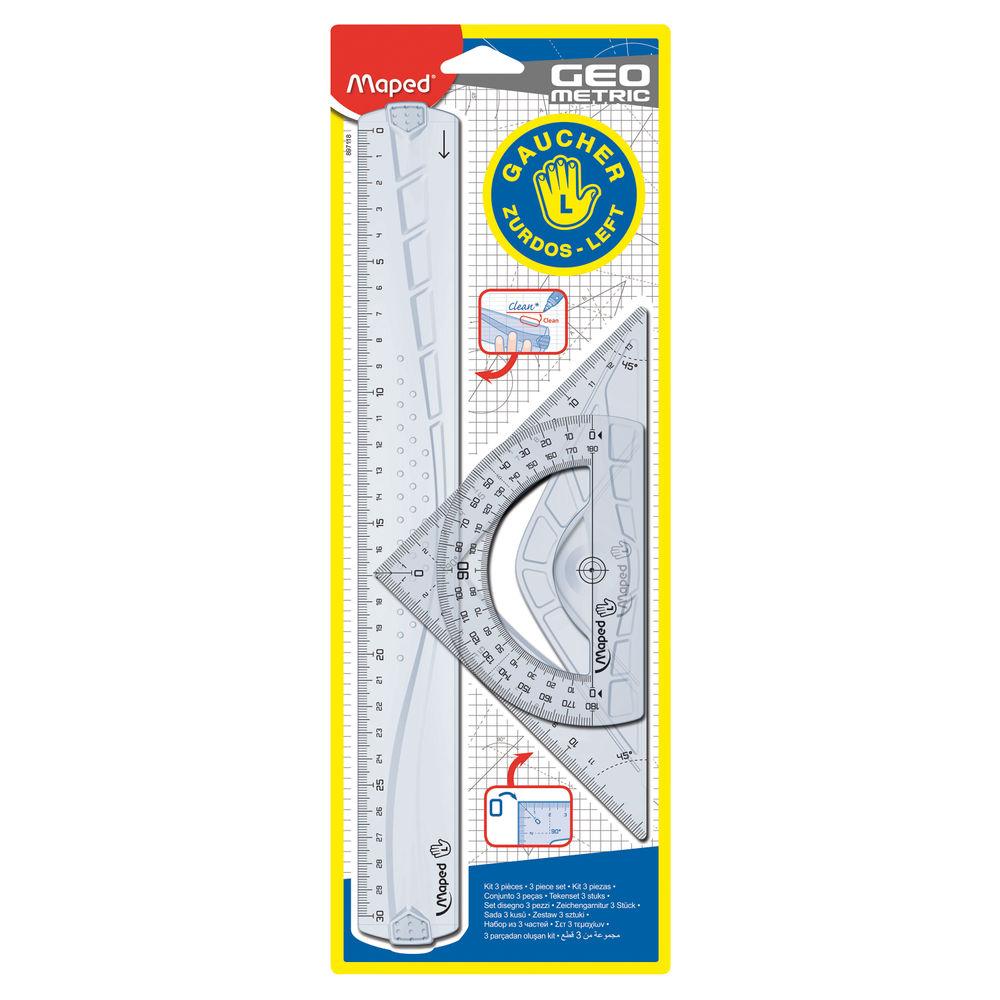 Geometric Left Handed Ruler 3 Piece Kit