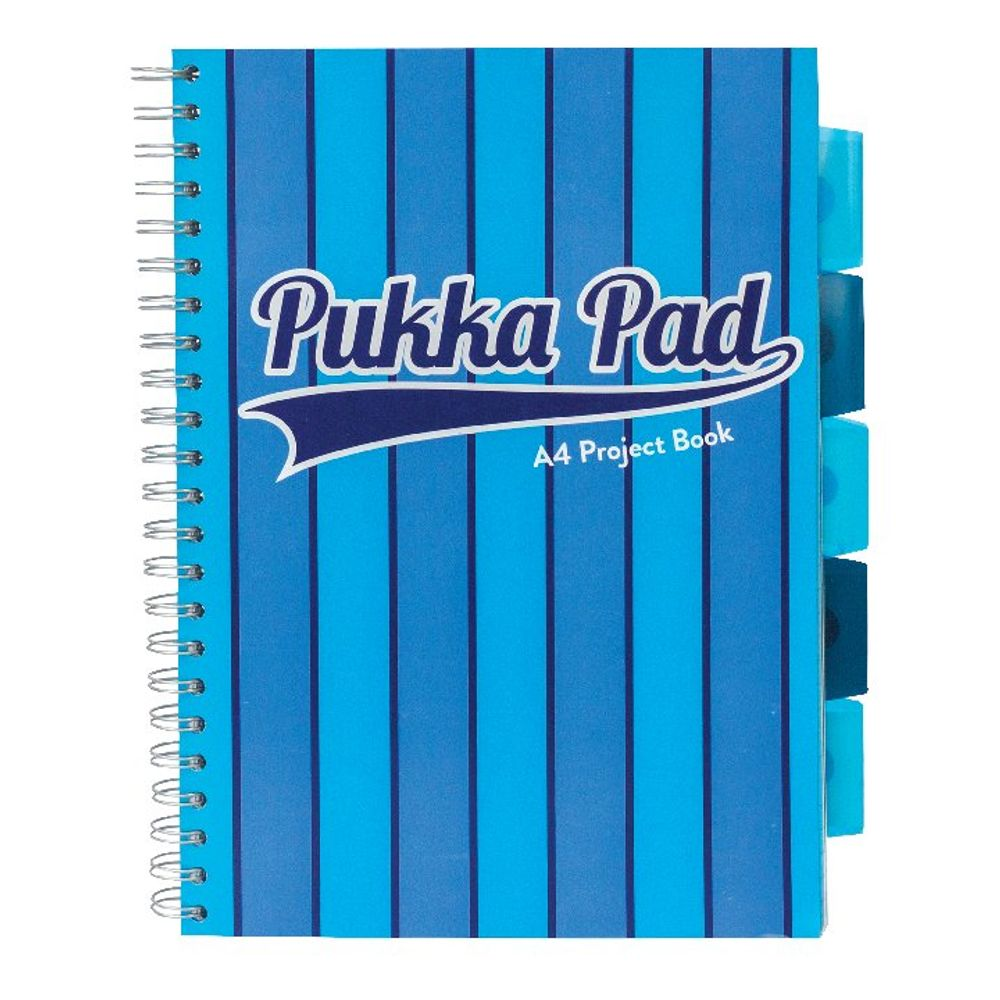 Pukka Pad Blue A4 Vogue Wirebound Project Books, Pack of 3 - 8538-VOG