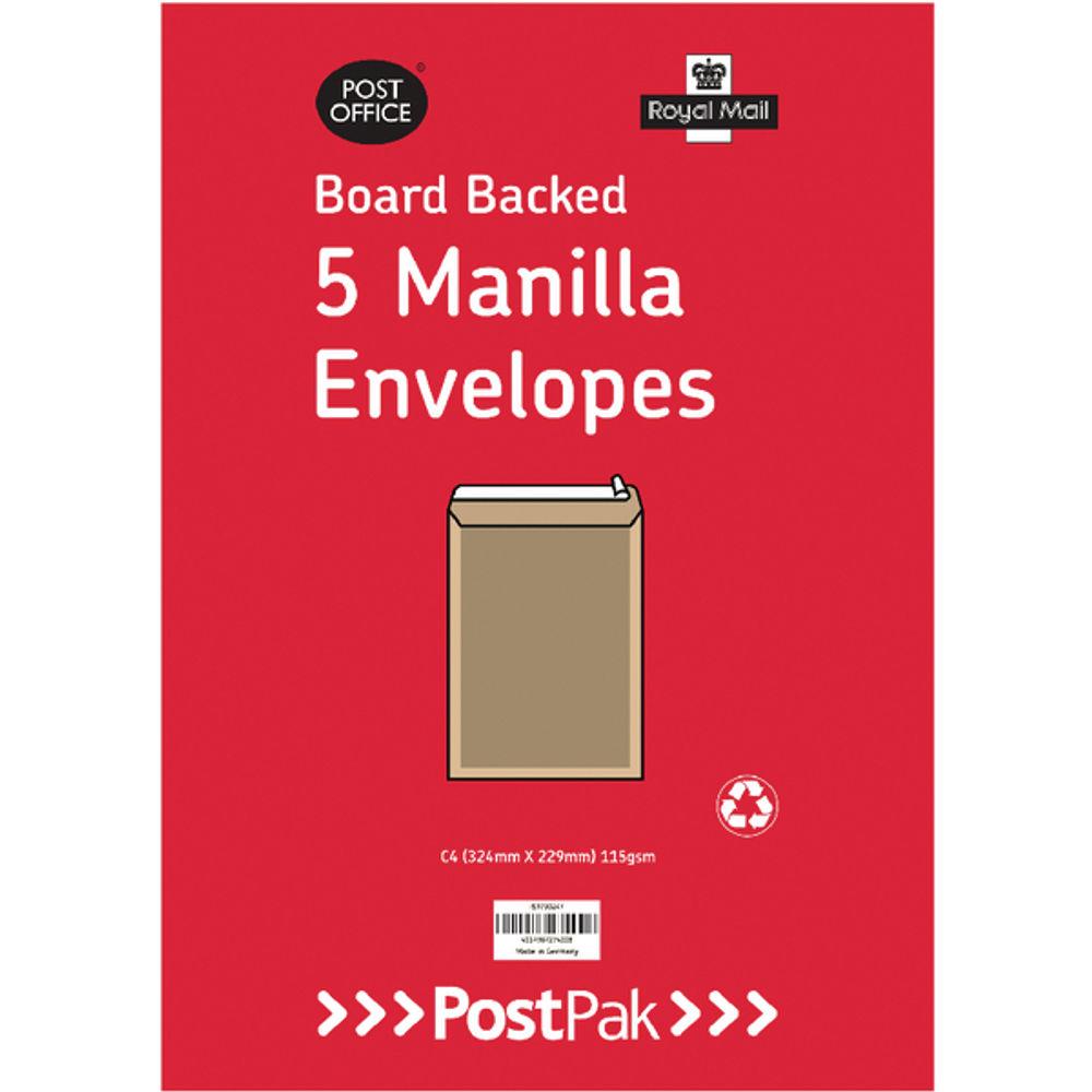 Envelopes C4 Peel & Seal Manilla 115Gsm Board Back (Pack of 5) POF27420