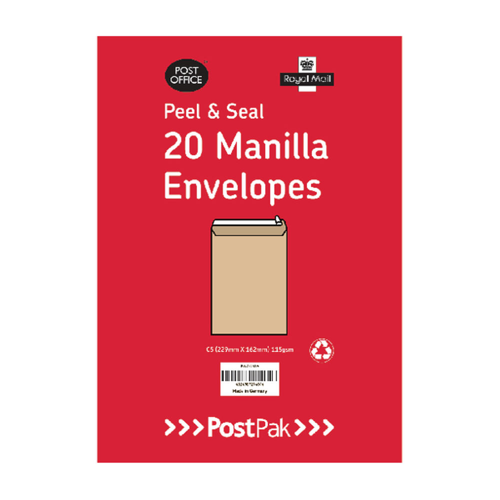 PostPak Manilla C4 Peel and Seal Envelopes 115gsm, Pack of 200 - 9730466