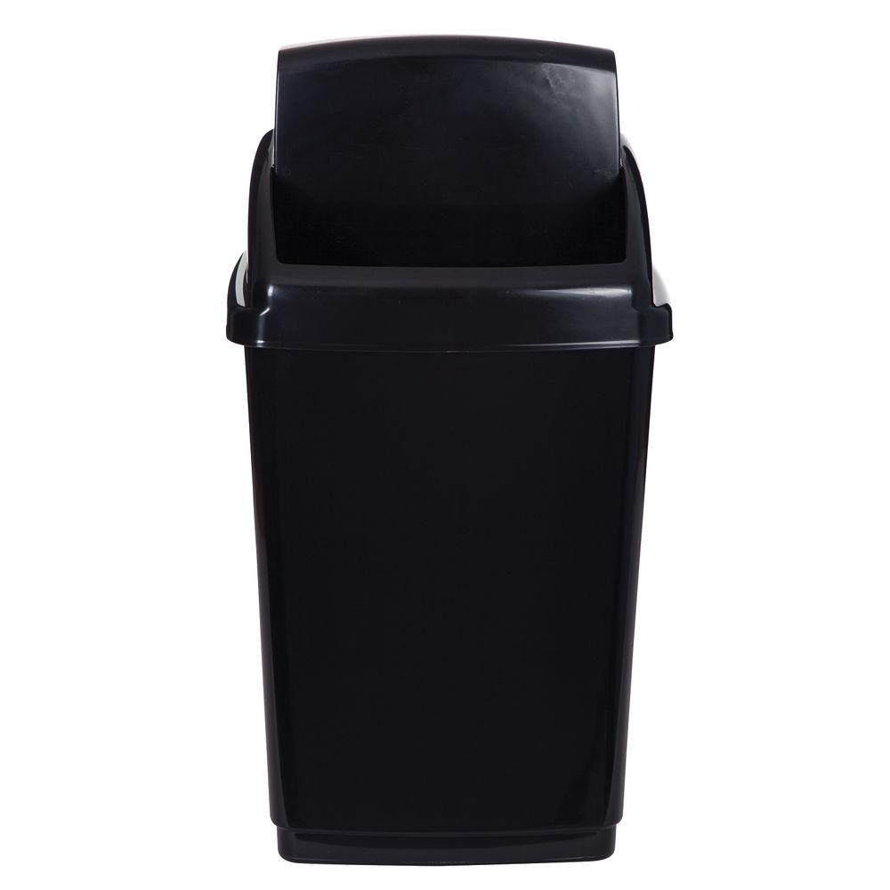2Work Swing Top Bin 50 Litre Capacity Black 2W810012