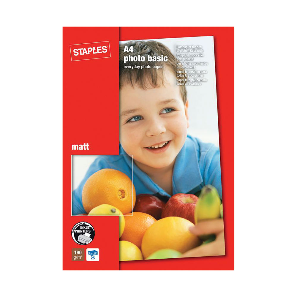 Staples A4 Photo Paper 190gsm Matte White (Pack of 25) IMH64210-K122