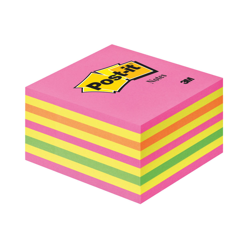 Post-it 76 x 76mm Neon Notes Cube - 2028 NP