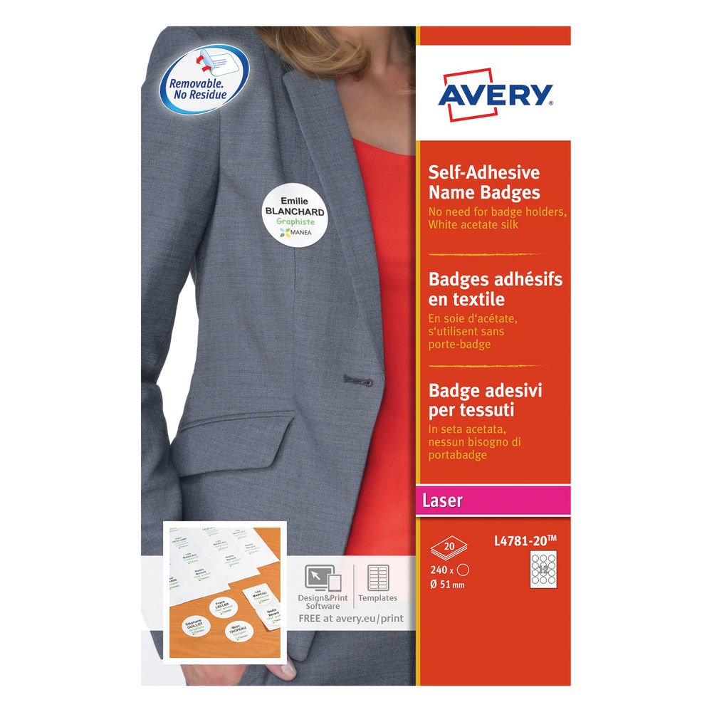 Avery Self-Adhesive 51mm Name Badges (Pack of 240) - L4781-20