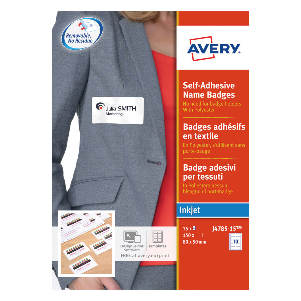 Avery Self-Adhesive 80 x 50mm Name Badges (Pack of 150) - J4785-15