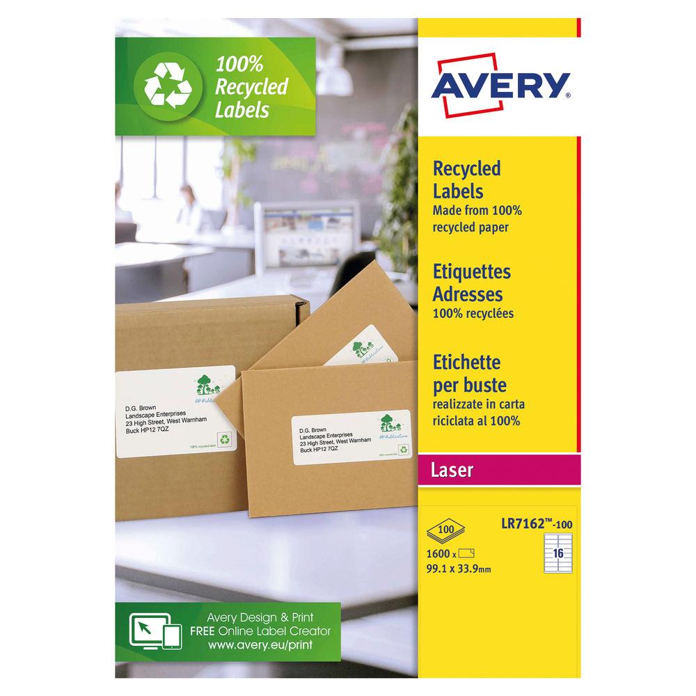 Avery QuickPEEL Recycled Laser Address Labels 99.1x 33.9mm, Pk of 1600 - AV81506