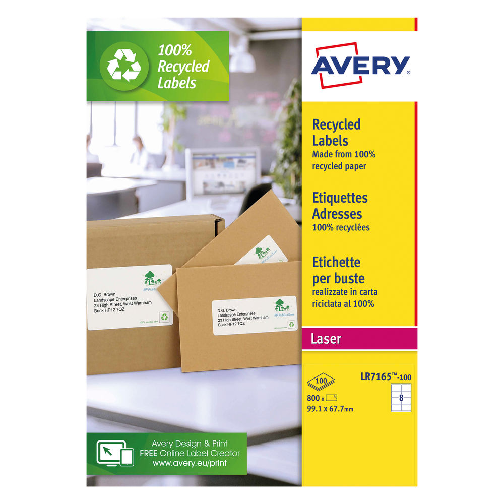 Avery Laser Labels Recycled 8 Per Sheet White (Pack of 800) LR7165-100