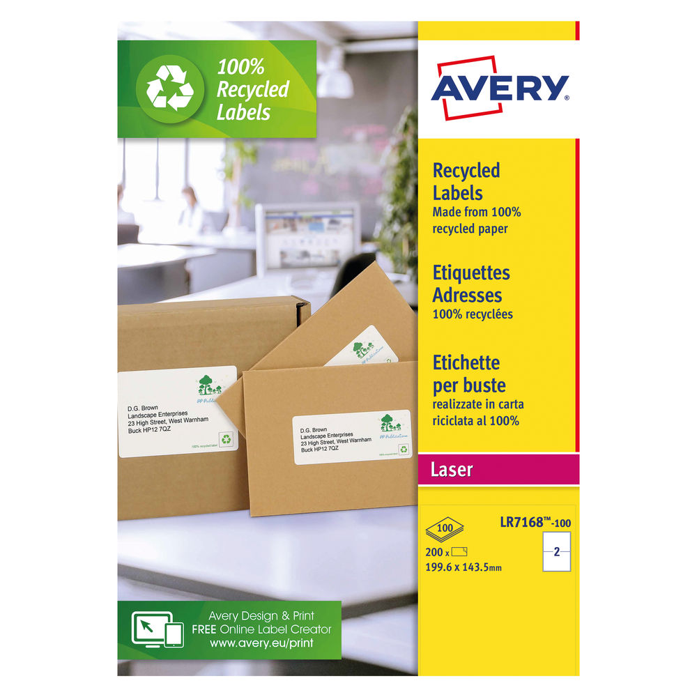 Avery QuickPEEL Recycled Laser Address Labels 199.6x143.5mm, Pk of 200 - AV81510