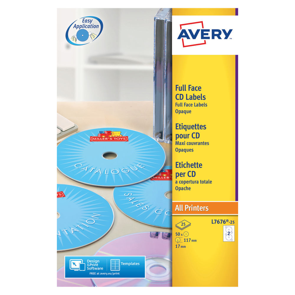 Avery White CD/DVD Full Face Labels (Pack of 50) - L7676-25