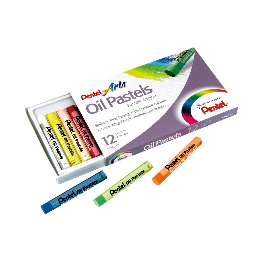 Pentel Oil Pastels Set of 12 Assorted (Pack of 12) PHN4-12