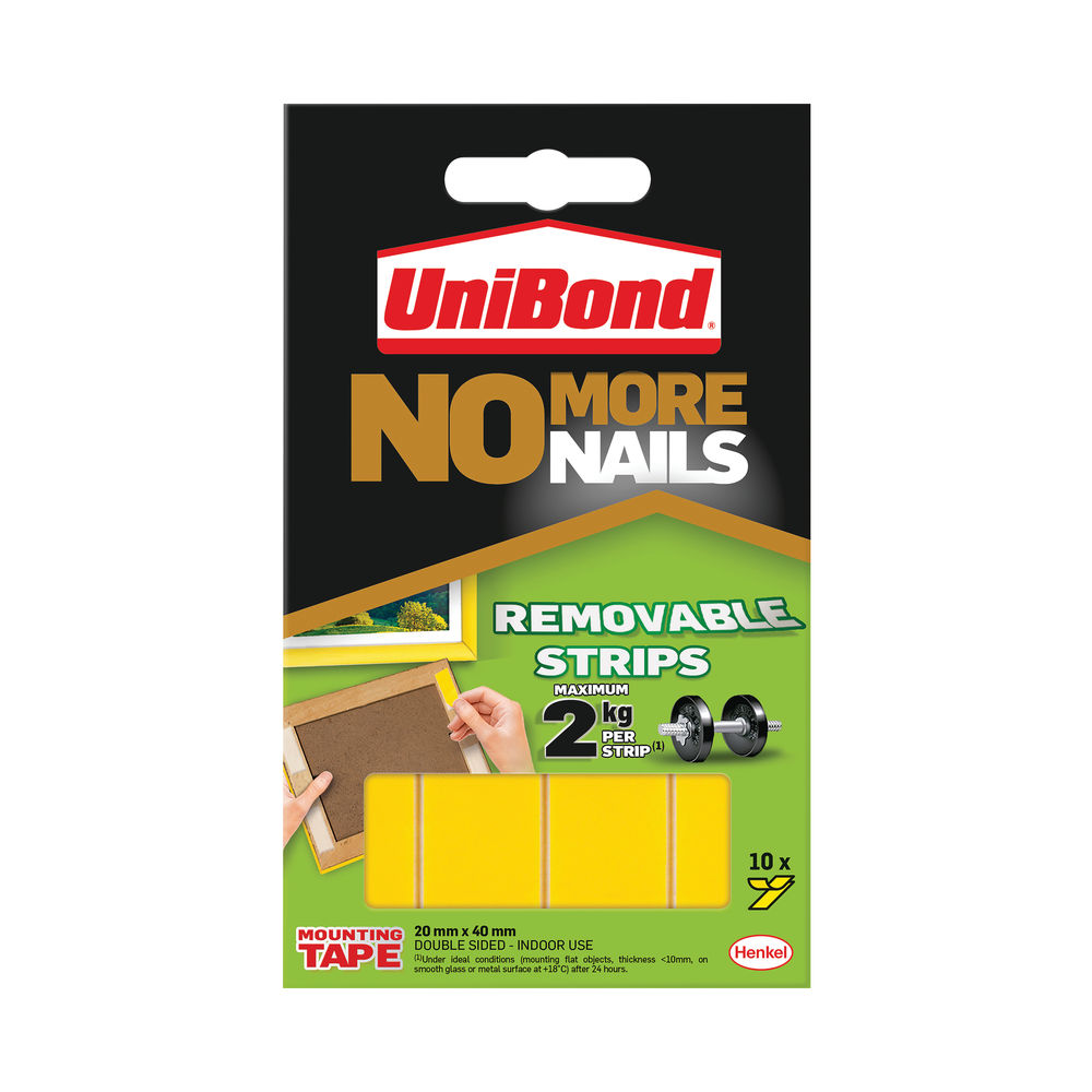Unibond No More Nails Removable Strips 20mm x 40mm (Pack of 10)