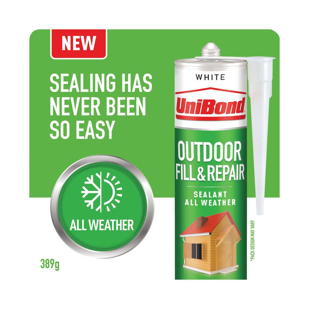 UniBond Outdoor Fill and Repair Cartridge White 280ml 2652146