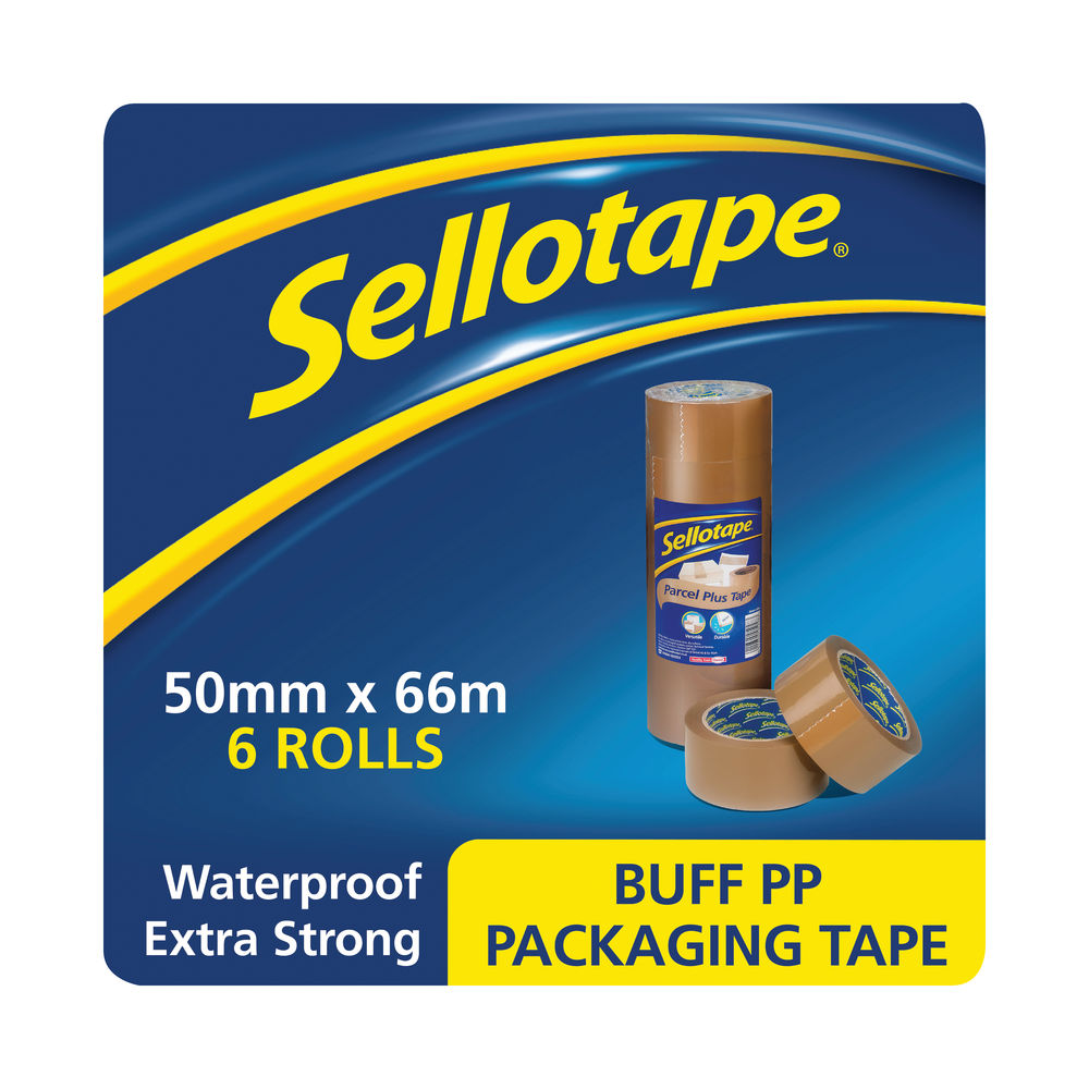 Sellotape 50mm x 66m Brown Poly Packaging Tapes, Pack of 6 - 1445172