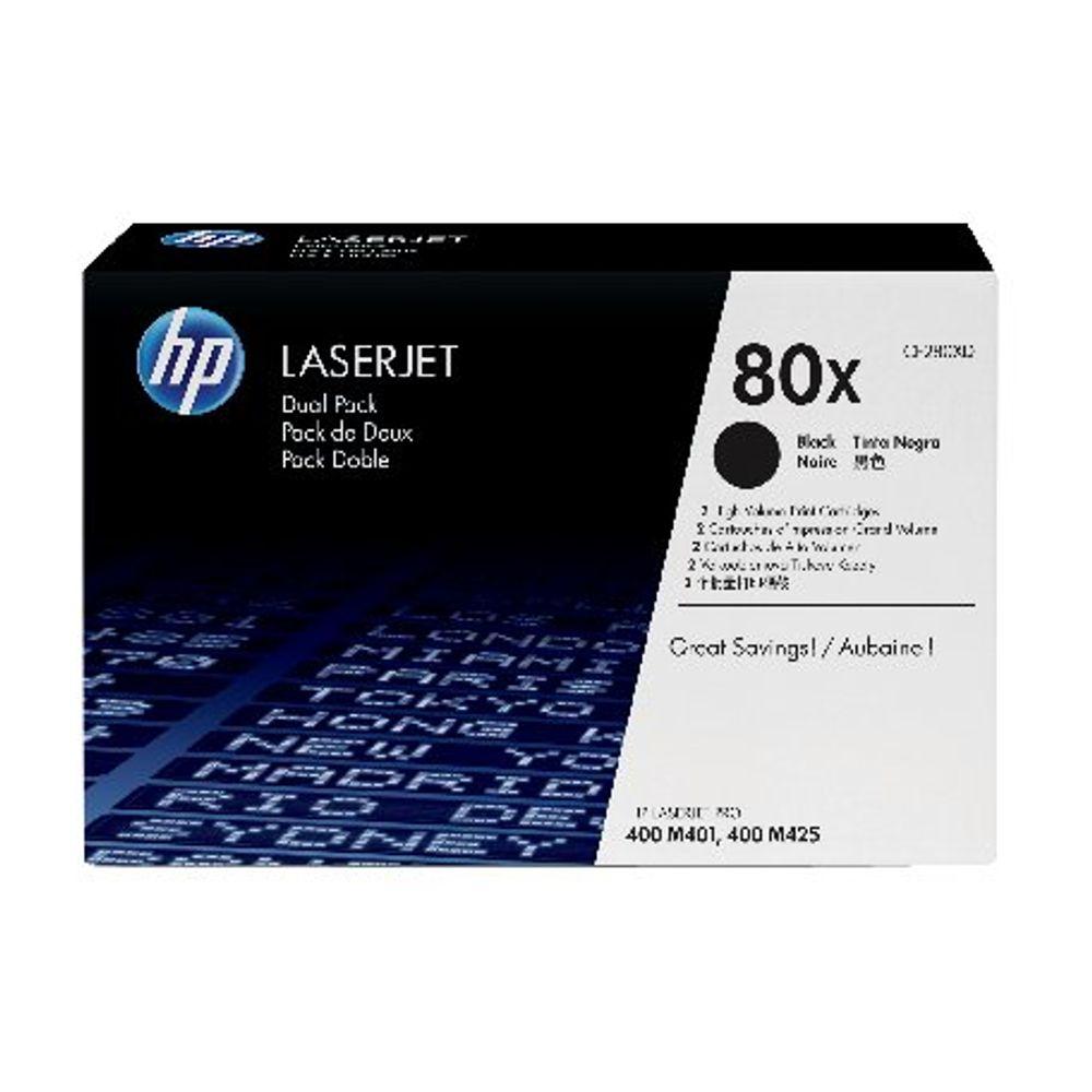HP 80X High Capacity Black Toner Cartridge Twin Pack - CF280XD