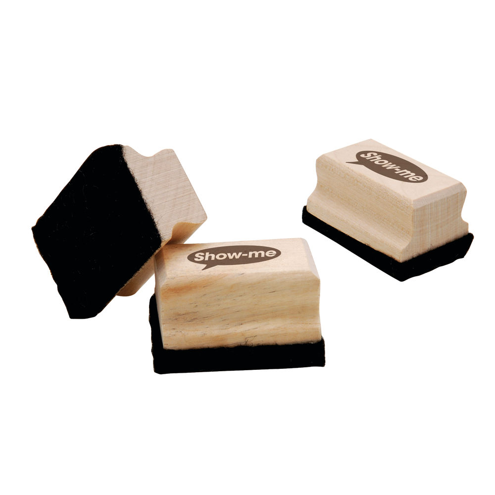 Show-me Wooden Handled Mini Felt Whiteboard Erasers, Pack of 30 - WME30