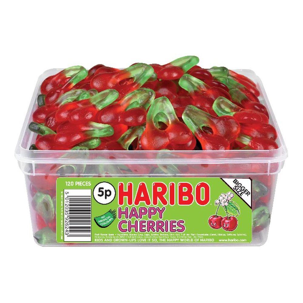 Haribo Giant Happy Cherries Drum, Pack of 120 | 12244