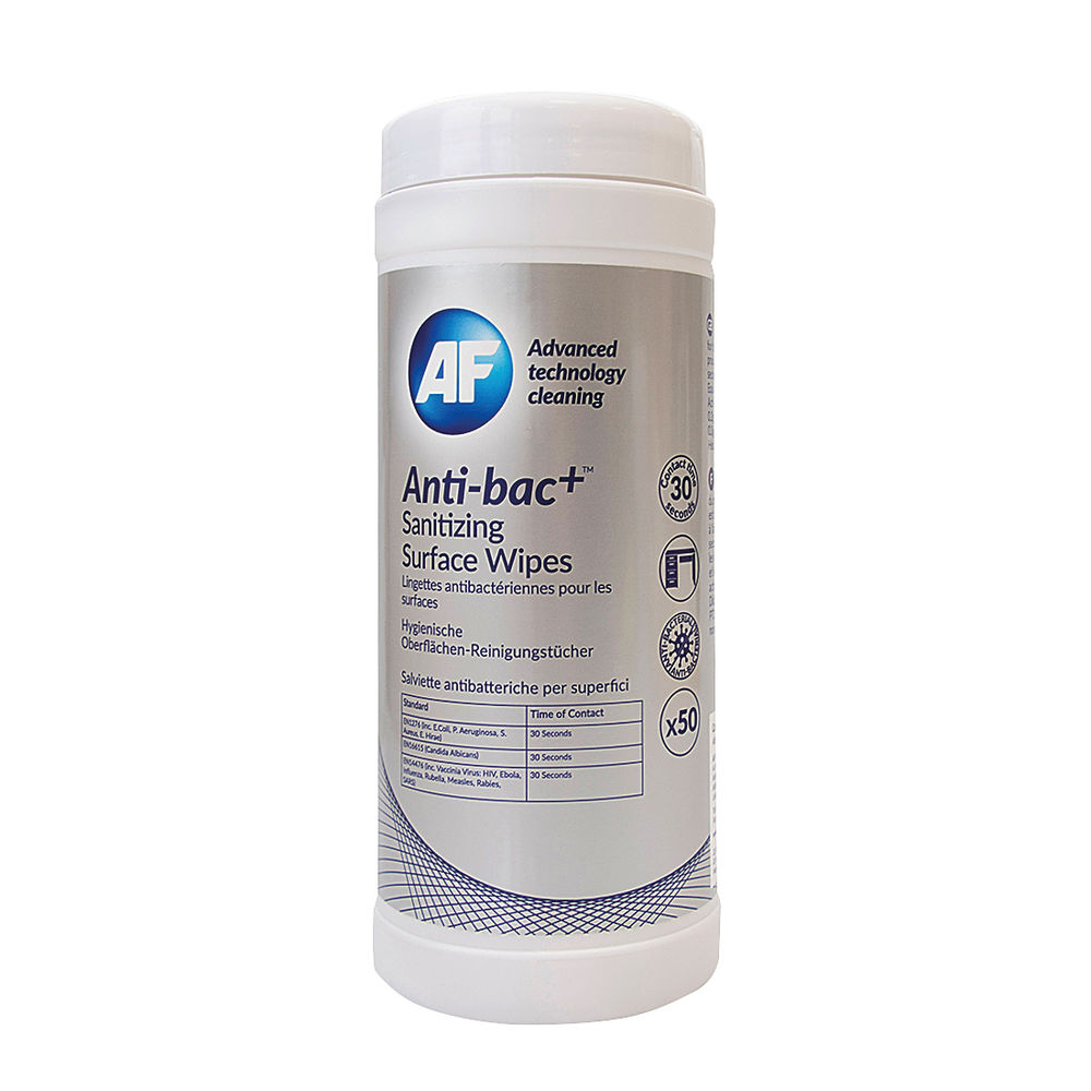 Anti-Bac Sanitising Surface Wipes, Pack of 50 - ABSCW50T