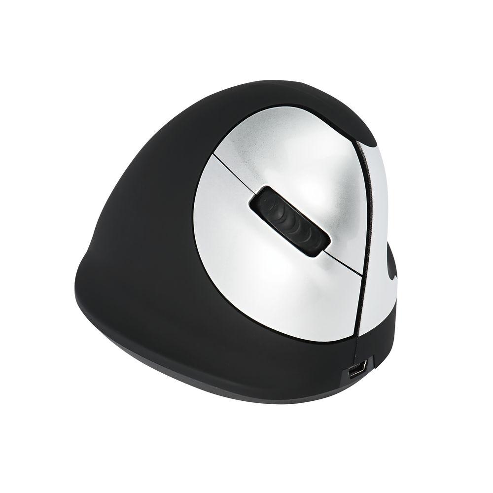 R-GO Black/Silver Medium Right Handed Wireless Ergonomic Mouse - RGOHEWL