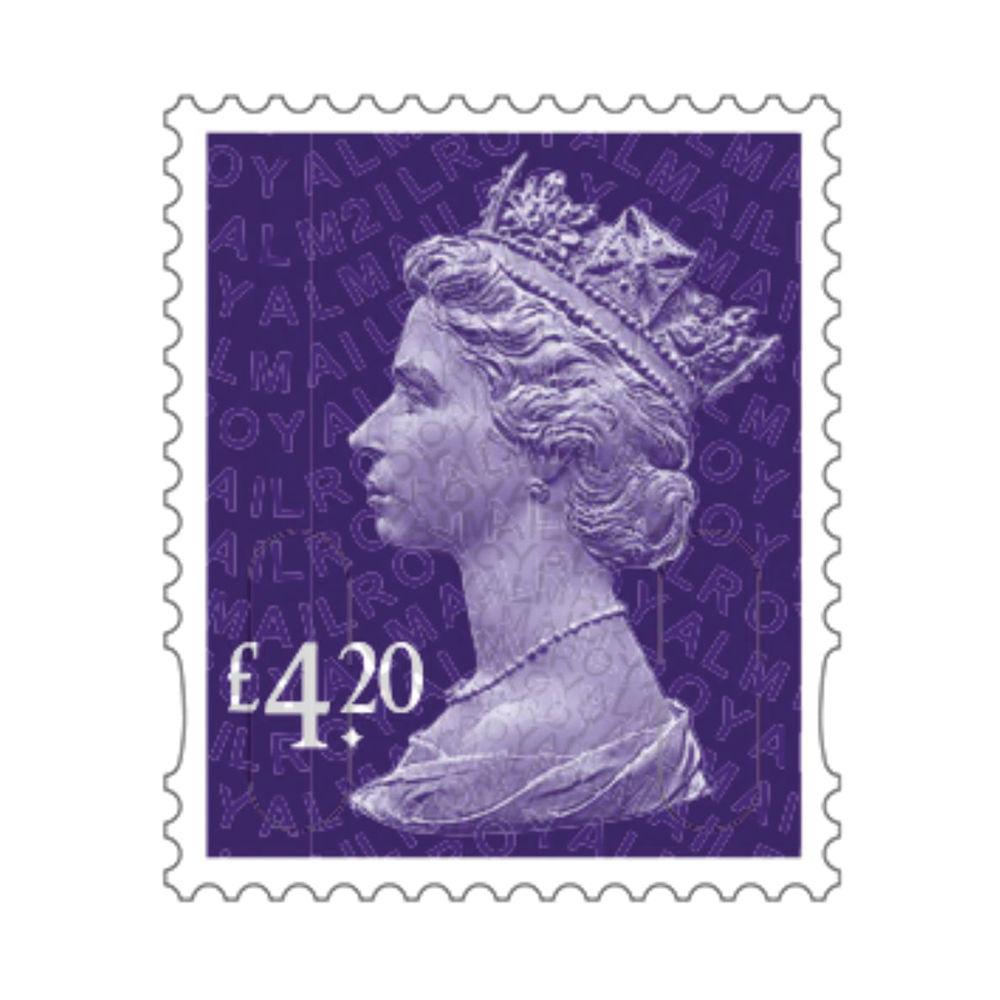 £4.20 Royal Mail Postage Stamps x 25 (Self Adhesive Stamp Sheet)