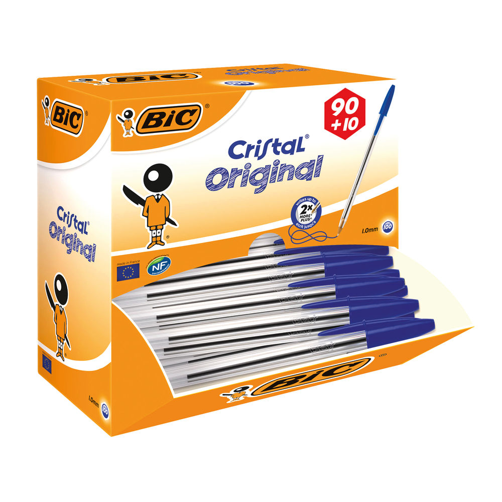 BIC Cristal Original Blue Medium Ballpoint Pens, Pack of 100 - 896039