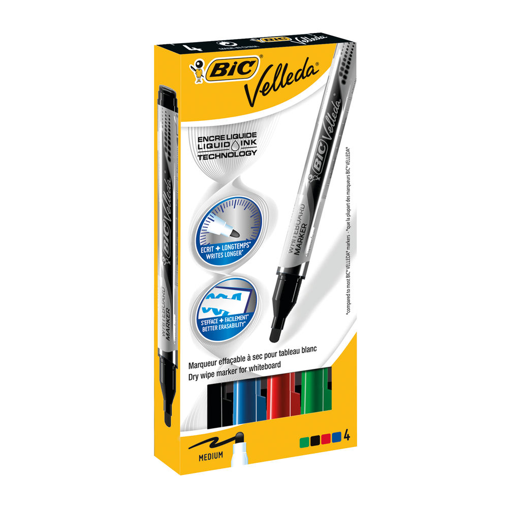 Bic Velleda Assorted Liquid Drywipe Marker Pens (Pack of 4) - 902094