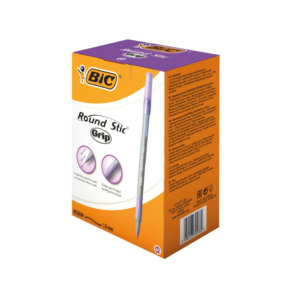 Bic Round Stic Grip Ballpoint Pen Purple (Pack of 40) 920412
