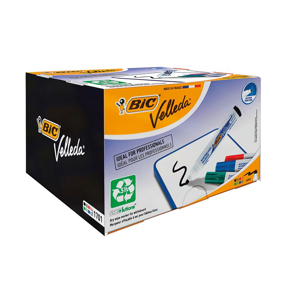 BIC Velleda 1701 Assorted Drywipe Markers, Pack of 48 - 927259