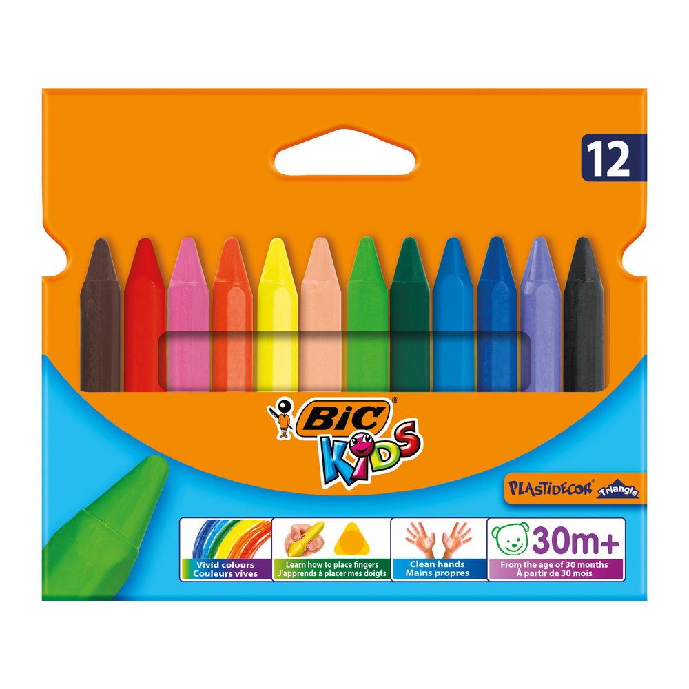 BIC Plastidecor Triangle Crayon Handy, Pack of 12 - BC40011