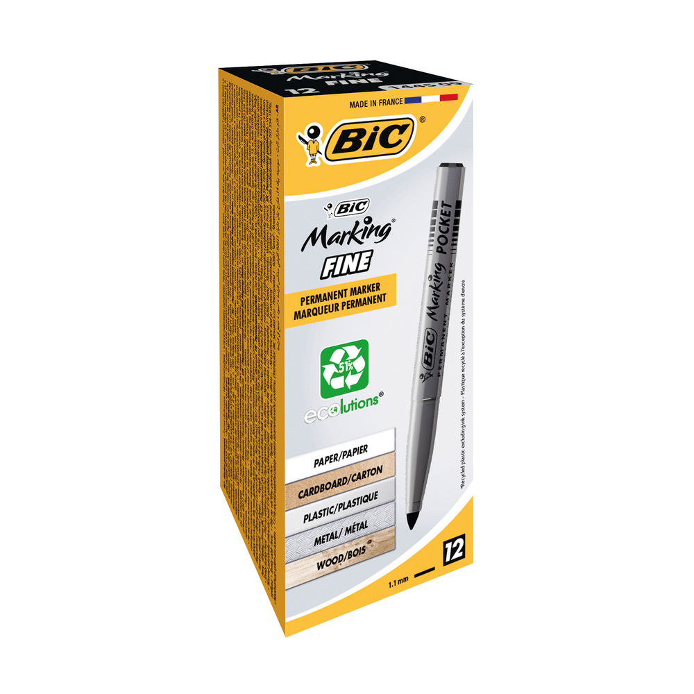 BIC Marking Fine Black Bullet Permanent Markers, Pack of 12 - 8209021