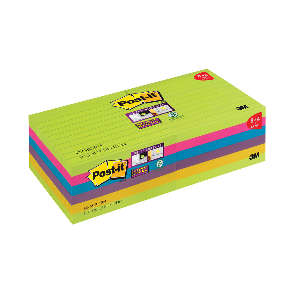 Post-it 101 x 101mm Ultra Super Sticky Lined XL Notes Pack of 12 | 675-SSUC-P8+4