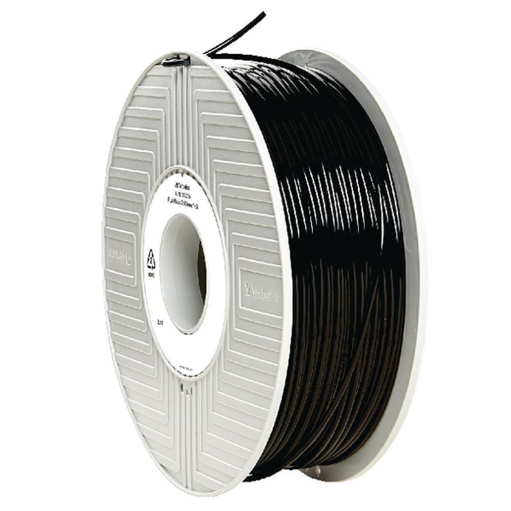Verbatim Black 2.85mm PLA 3D Printing Filament, 1kg Reel - 55276