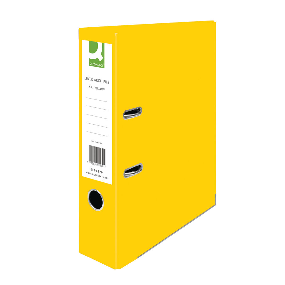 Q-Connect Yellow A4 Lever Arch Files, Pack of 10 - KF01470